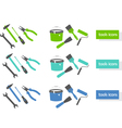 set of tools icons three colors vector image vector image