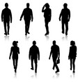 set silhouette of people walking on white vector image vector image