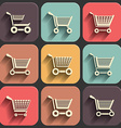 shoping cart flat icon set on color fade shadow vector image