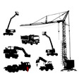 silhouettes of machinery vector image vector image