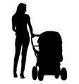 Silhouettes walkings mothers with baby strollers