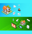 smart home isometric banners set vector image vector image