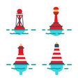 striped buoys in water isolated set vector image vector image
