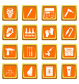 tattoo parlor icons set orange vector image vector image