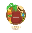 Tourist suitcase and vacation symbols vector image