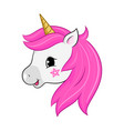 unicorn head isolated on white head vector image vector image
