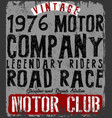 vintage motorcycle poster t shirt typography vector image vector image
