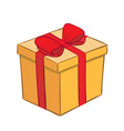 yellow gift box with red ribbon vector image vector image
