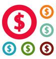 dollar icons circle set vector image