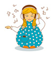 Russian girl listen to music by headphones vector image