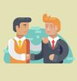 business partnership two businessmen handshaking vector image
