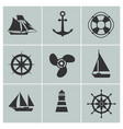 marine and shipping icons boat ship or yacht vector image