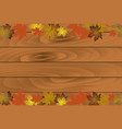 autumn background with wooden planks vector image