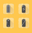 battery silhouette icon set in flat style on vector image vector image