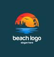 beach summer logo design vector image vector image