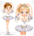 Beautiful little ballerina girl in white dress and vector image vector image
