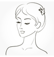 Beautiful young woman sketch vector image