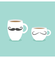 Coffee cup mug moustaches and lips Blue background vector image