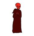 comic cartoon spooky skeleton in robe vector image vector image