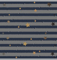 cute pattern with stripes and golden stars on vector image