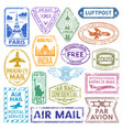 Different countries air plane post stamp delivery