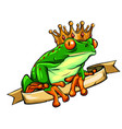 frog prince waiting to be kissed holding a heart vector image