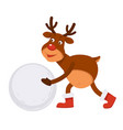 funny christmas polar deer in boots makes snowman vector image vector image