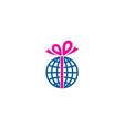 globe gift logo icon design vector image