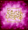 golden text on pink background merry christmas vector image vector image