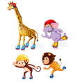 group of athlete animals ice skating vector image vector image