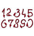 hand drawn design font red devil numbers vector image