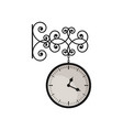 hanging vintage clock with black metal frame and vector image