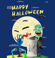 happy halloween poster with zombie in cemetery vector image vector image