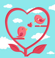happy valentines day with bird in love vector image vector image