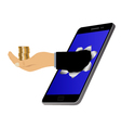 Hole on the screen and hand with coins vector image vector image