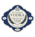label for vodka with ears of wheat and crown vector image vector image