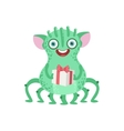 Many-legged Friendly Monster With Gift vector image vector image