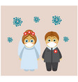 masked wedding during a pandemic vector image