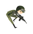 military man with gun rifle soldier character in vector image vector image