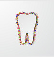 modern tooth with confetti on white vector image