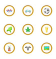 netherlands attraction icons set cartoon style vector image vector image
