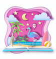 Open fairy tale book with flamingo and tropic