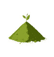 pile of matcha tea powder with tea leaves vector image