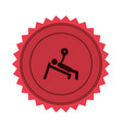 pink circular seal of man with training vector image vector image