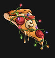 pizza christmas tree lights vector image vector image