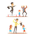 rope walker and magician performing before happy vector image vector image