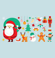 santa claus characters and friends with christmas vector image
