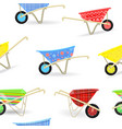 seamless texture with vintage garden wheelbarrows vector image vector image