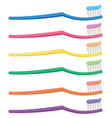 set of colorful toothbrushes vector image