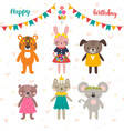 set of cute cartoon animals for happy birthday vector image vector image